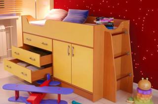 Кровать - чердак «Солнышко» с матрасом